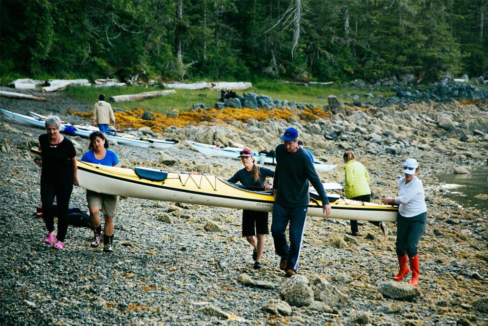 Carying Kayaks - Great Bear Rainforest