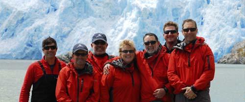 patagonia kayaking group at glacier