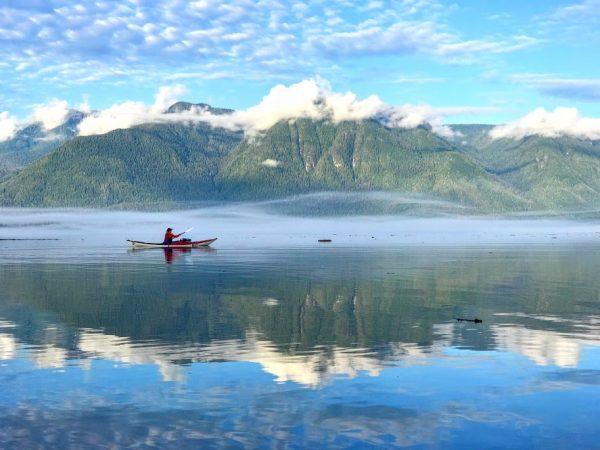 Solo kayaker in Johnstone Strait