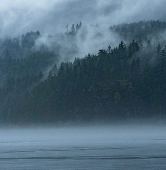 Misty Johnstone Strait mountains