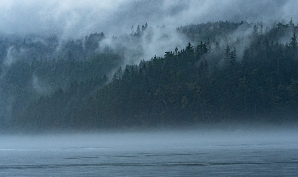 Misty Johnstone Strait mountains
