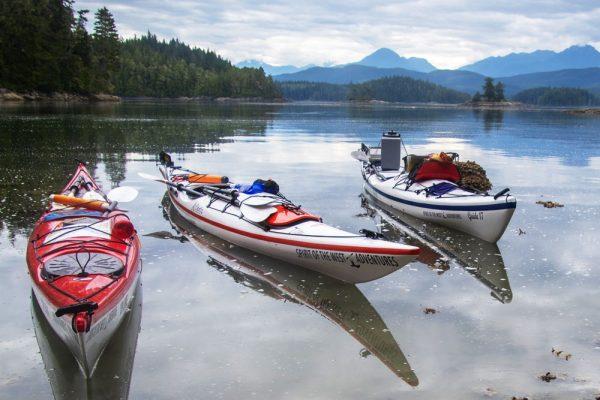 Kayaks floating in BC waters