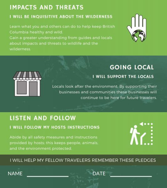 Responsible travel visitor pledge from the Wilderness Tourism Association page 2