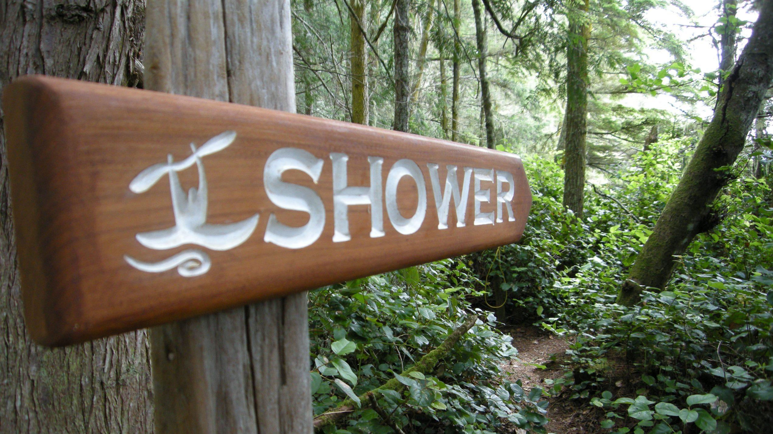 Camp shower sign