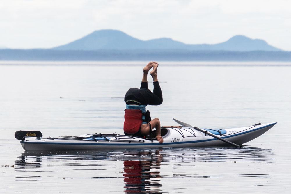 Yoga in a kayak