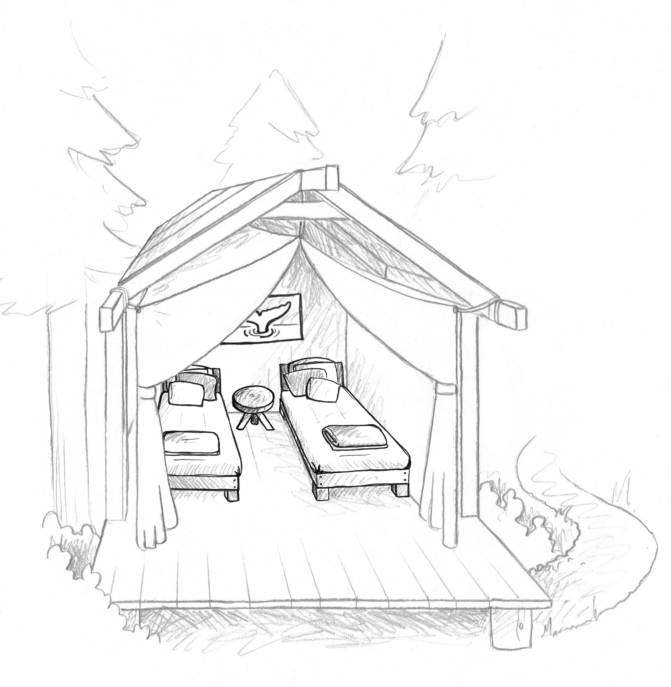 Drawing Glamping tents